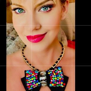 Betsey Johnson Bling Thing Black Bow Necklace